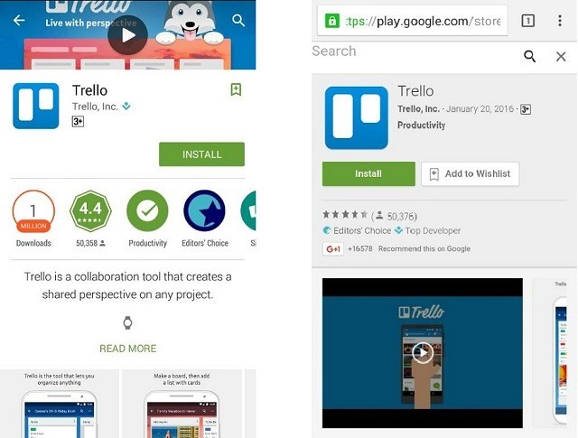 Video in Google Play mobile and web versions