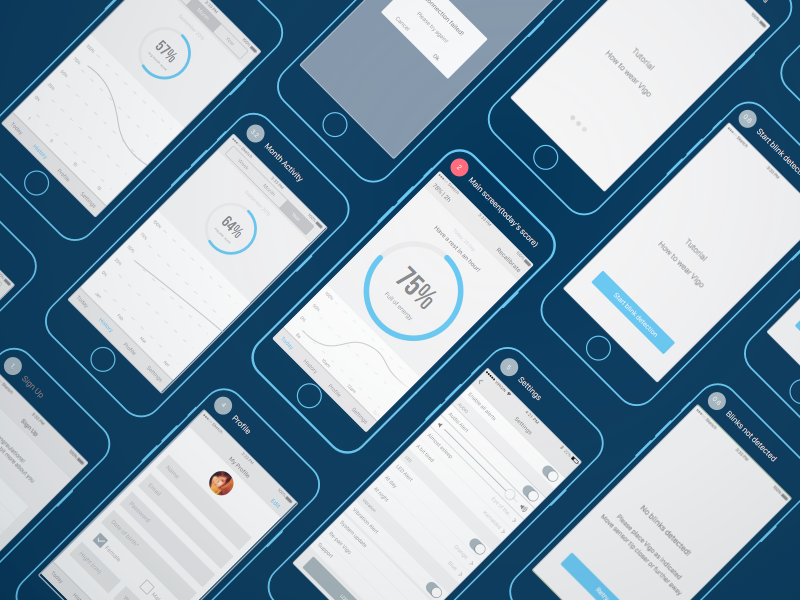 Activity tracking app wireframes