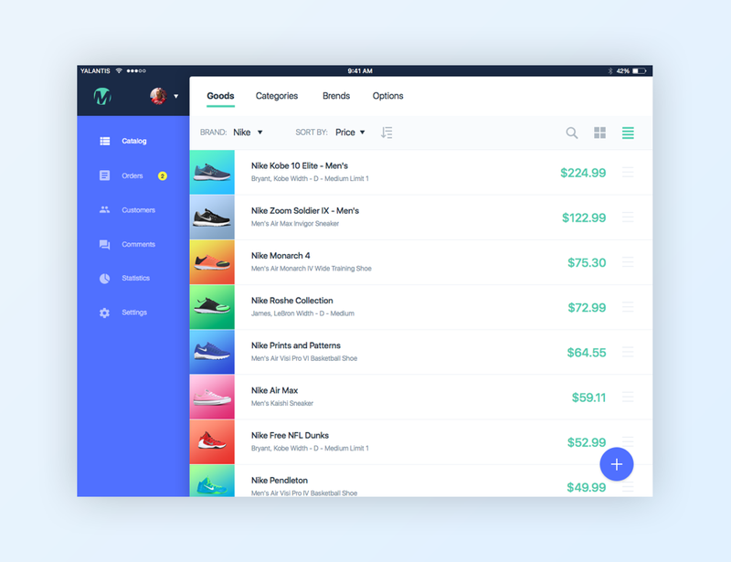 Shopping app concept. UI for sellers.