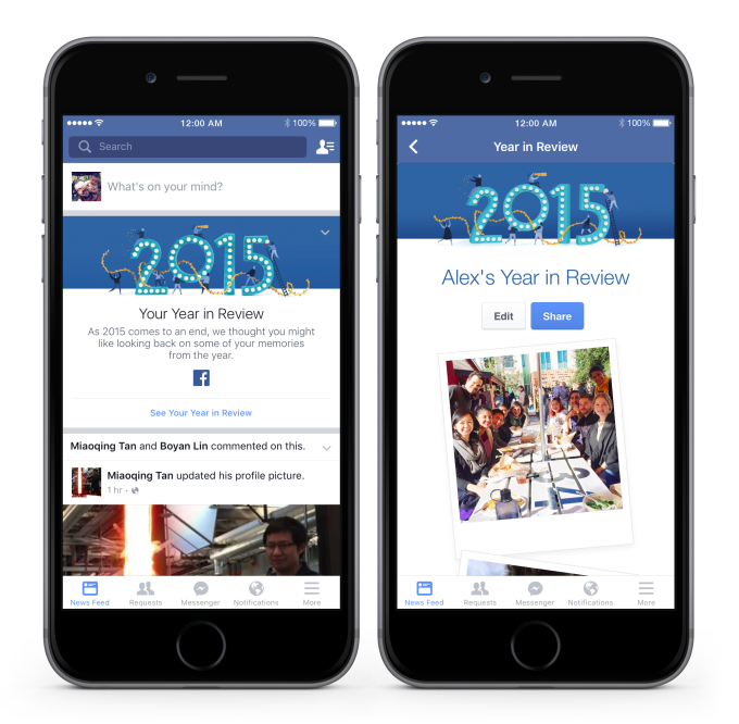 Facebooks year in review feature. photo sharing app