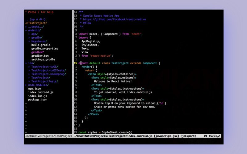react native vim editor
