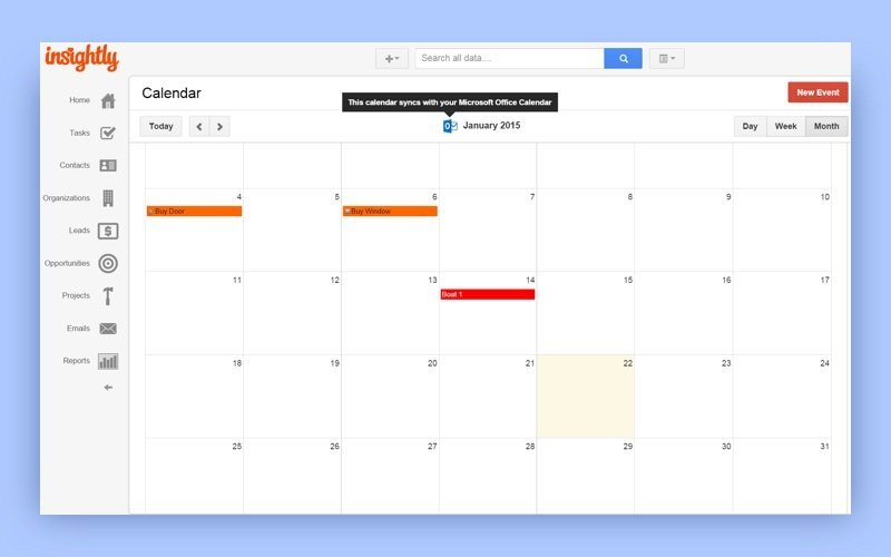 insightly calendar screenshot
