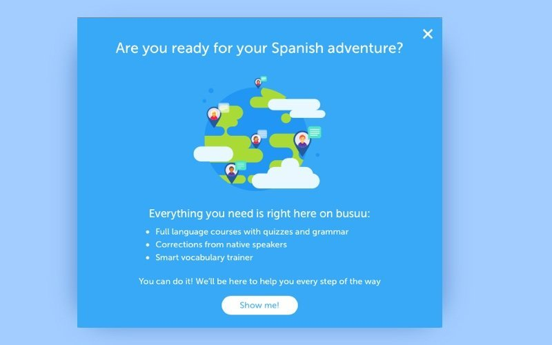 How to develop a language learning app busuu onboarding