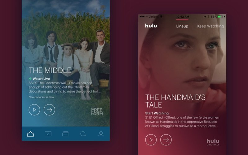 hulu home lineup new design new mobile app ios hulu plus