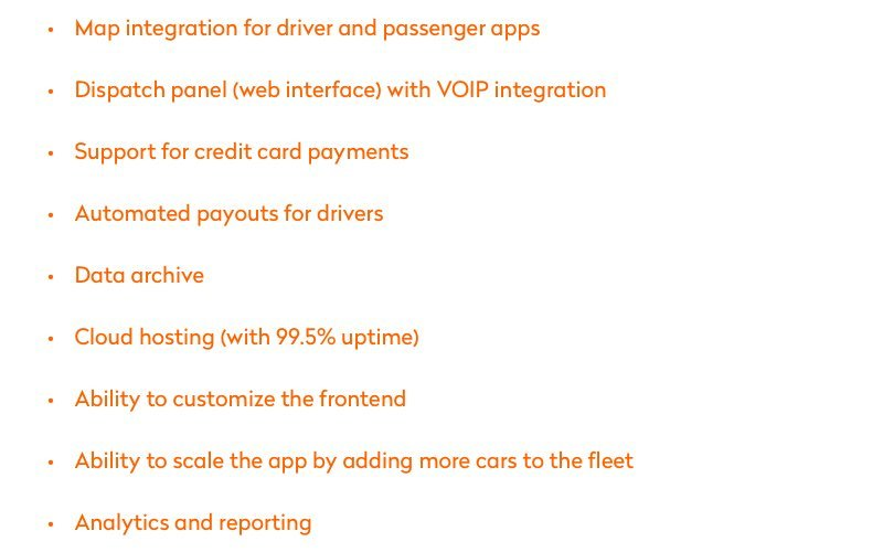 Most common taxi app features
