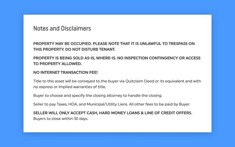 Notes and Disclaimers on RealtyBid