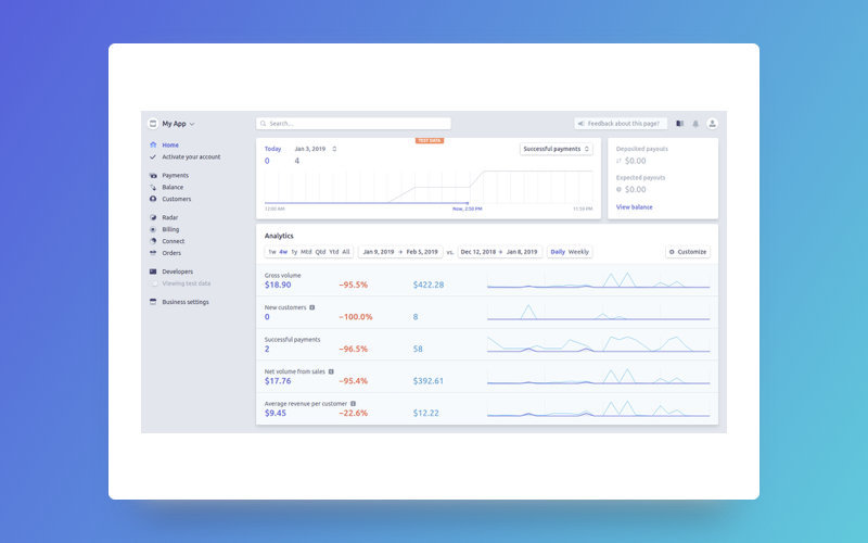 Stripe's dashboard