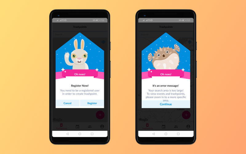 Illustrations in the World Cleanup app