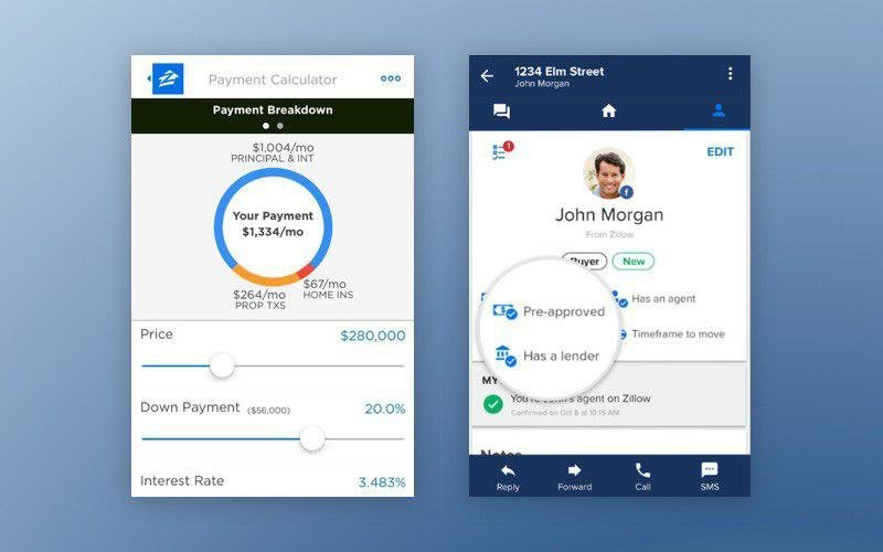 Zillow's app for mortgage credit lending and Zillow's realtor app