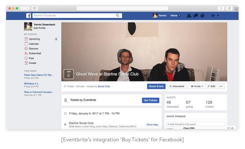 Eventbrite's integration with Facebook