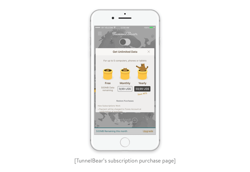TunnelBear's subscription purchase page