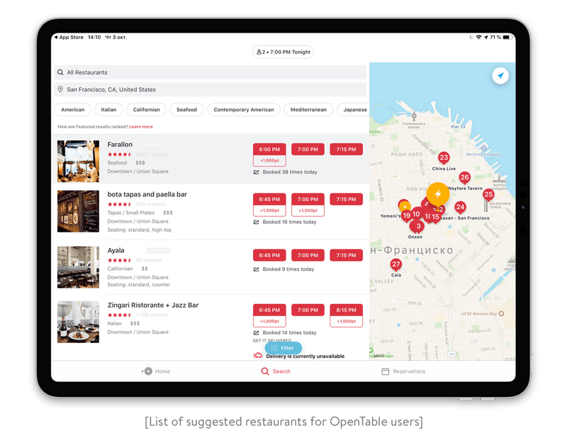 List of suggested restaurants for OpenTable users