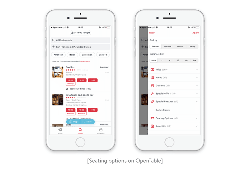 Seating options on OpenTable