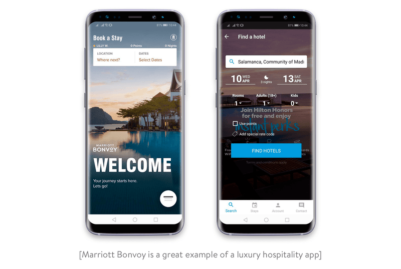 Luxury hospitality apps