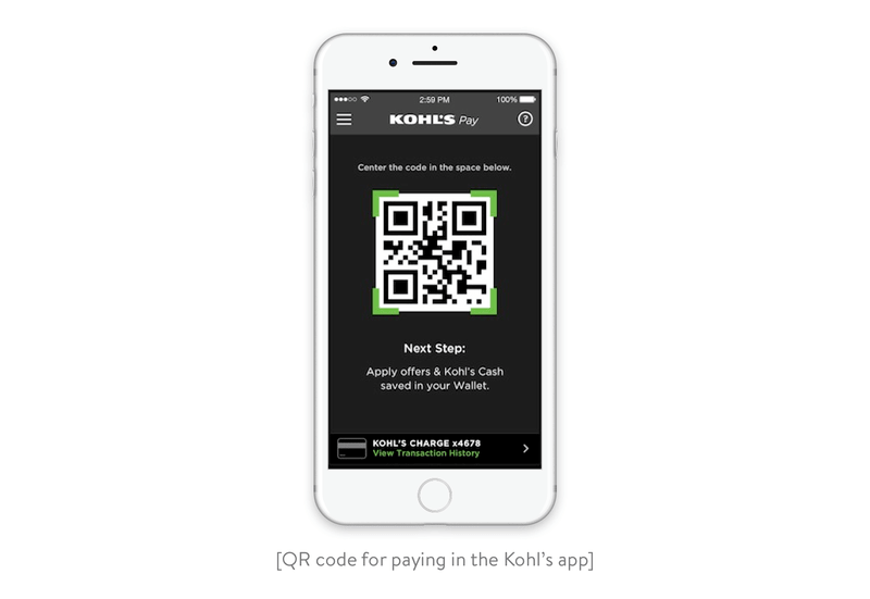 QR code for paying in the Kohl's app