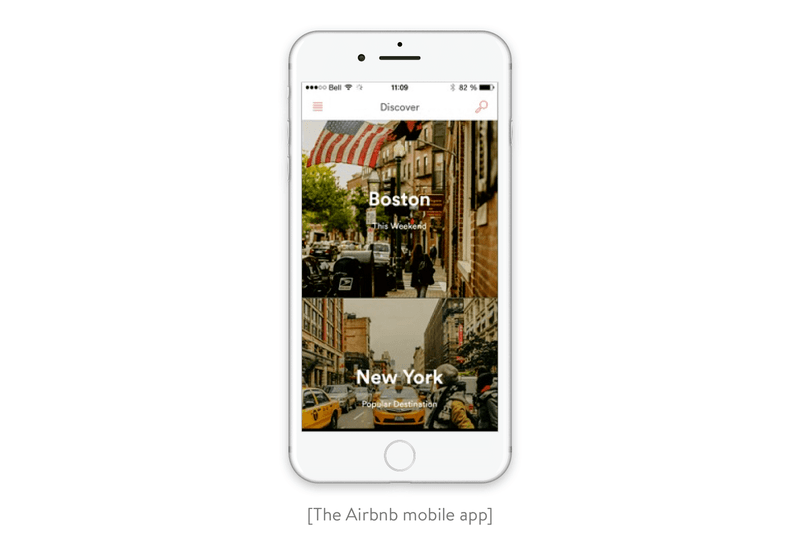 The Airbnb mobile app