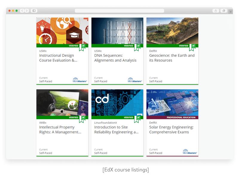 EdX course listings