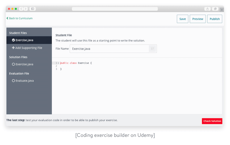 Coding exercise builder on Udemy