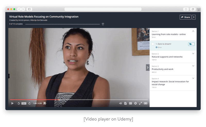 Video player on Udemy