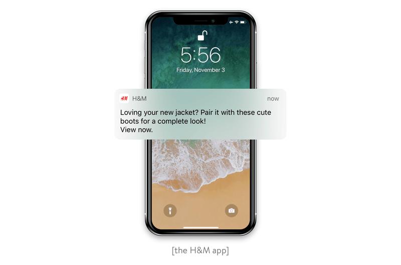 A push notification H&M app