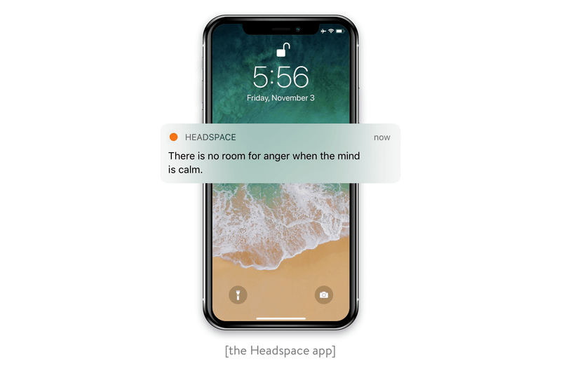 A push notification from the Headspace app