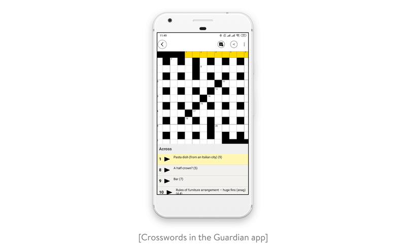 Crosswords in the Guardian app