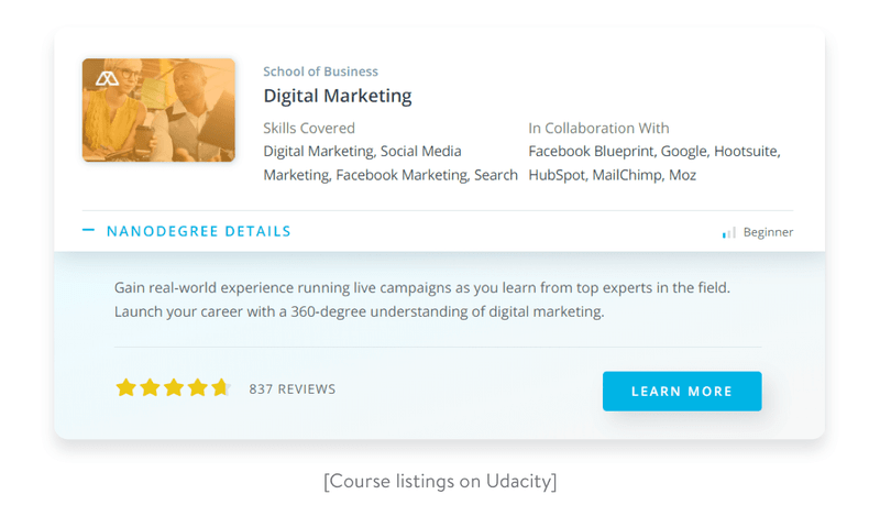 Course listings on Udacity