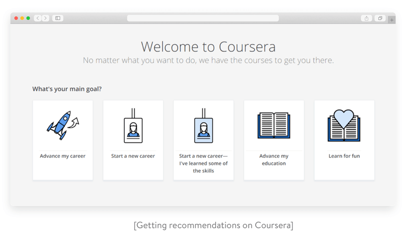 Getting recommendations on Coursera