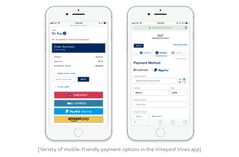 Variety of mobile-friendly payment options in the Vineyard Vines app