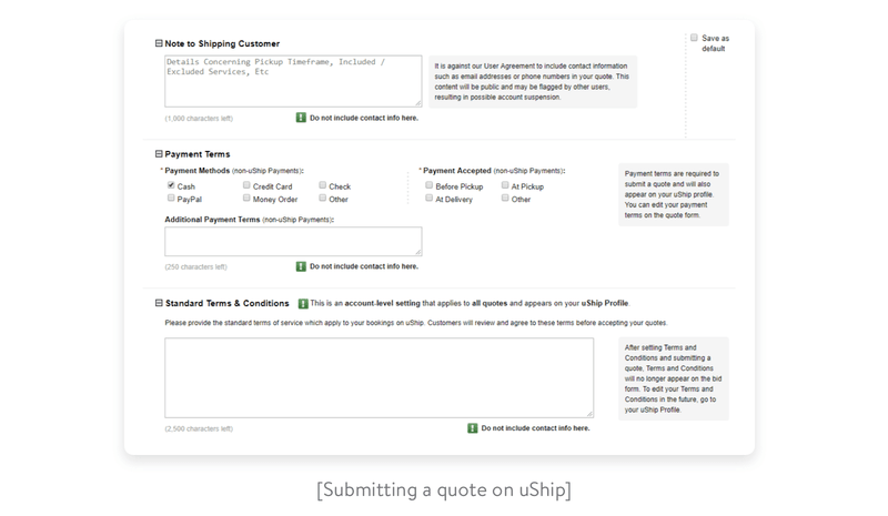 Submitting a quote