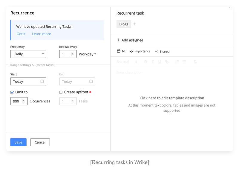 recurring tasks in wrike