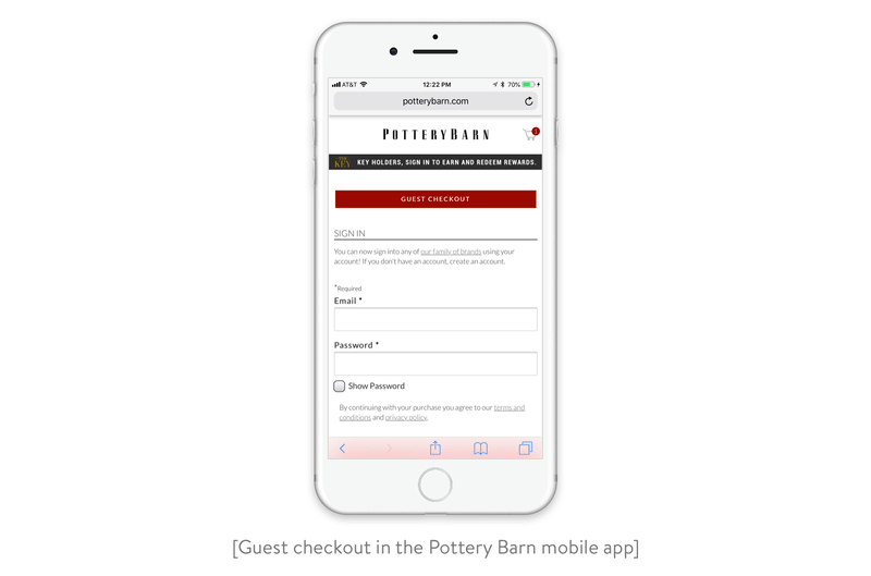 guest checkout in the pottery barn mobile app