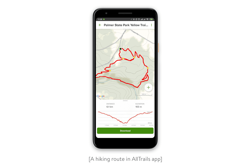 hiking route in the alltrails app