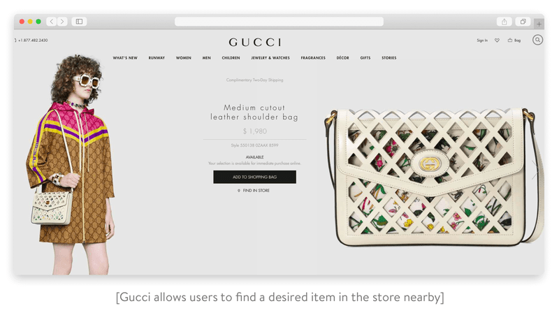 gucci allows users to find a desired item in the store nearby
