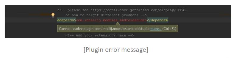 Plugin error message