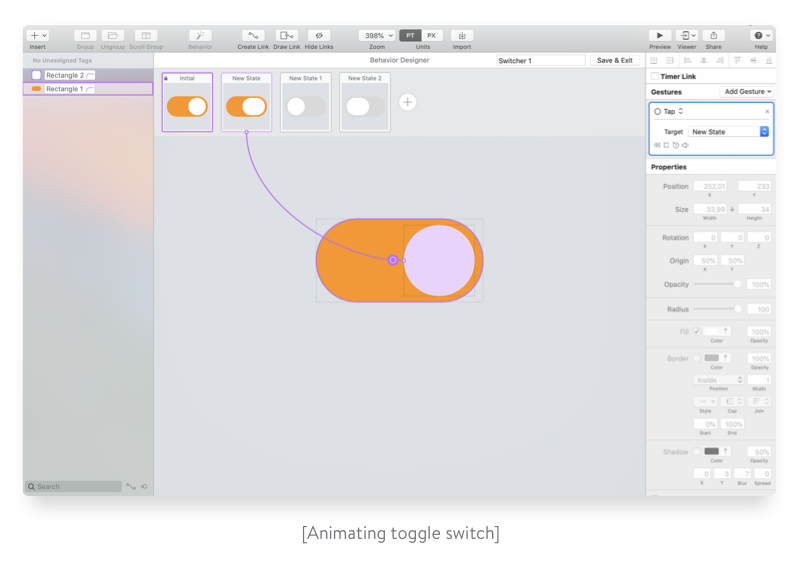 Animating toggle switch