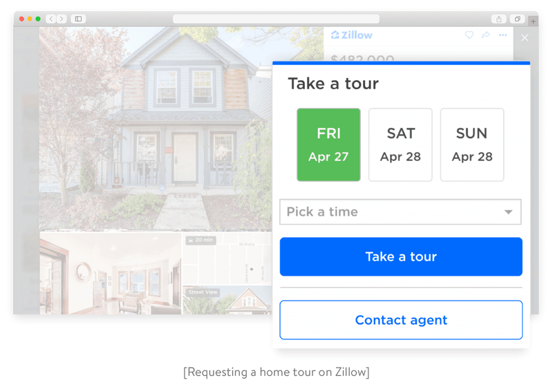 Requesting a home tour on Zillow