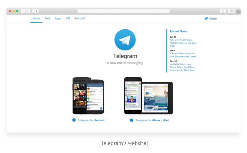 Telegram's website