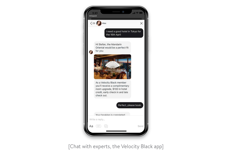 chat with experts in the velocity black app