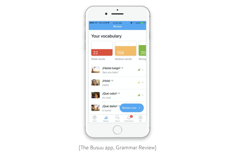 grammar review in the busuu app