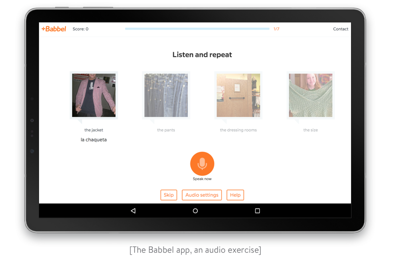 an audio exercise in the babbel app