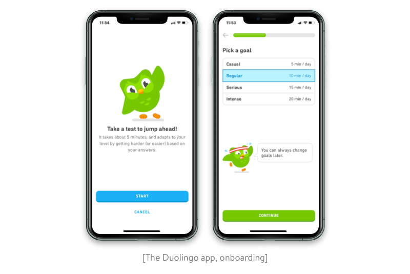 onboarding in the duolingo app