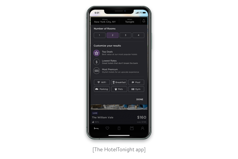 the hoteltonight app