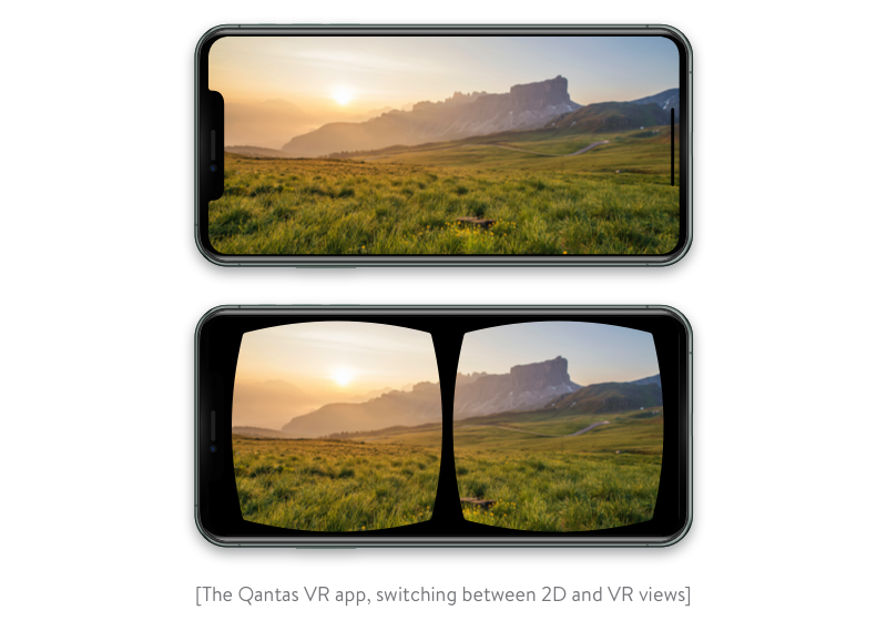 switching between 2d and vr views in the qantas app