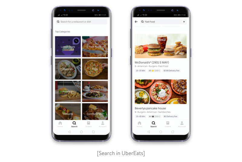 Search in UberEats