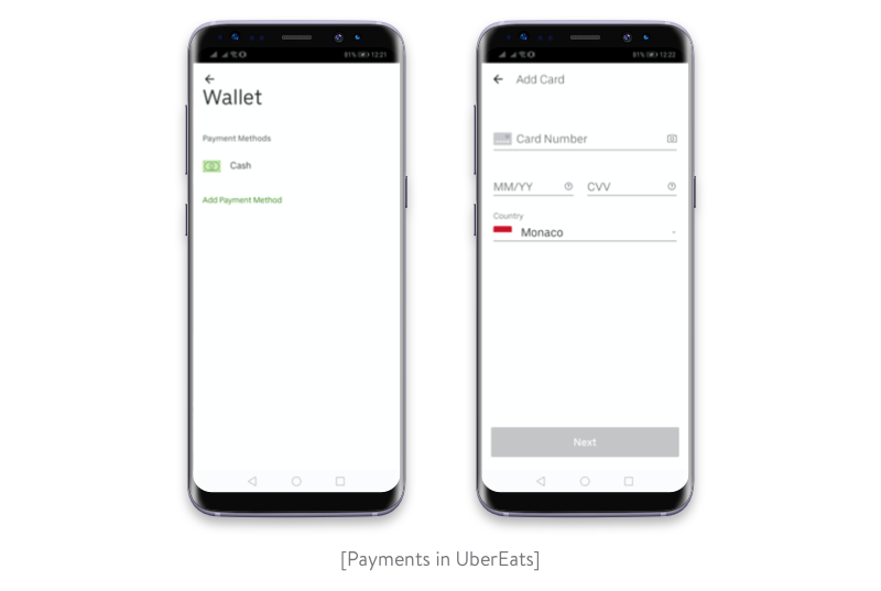 Payments in UberEats