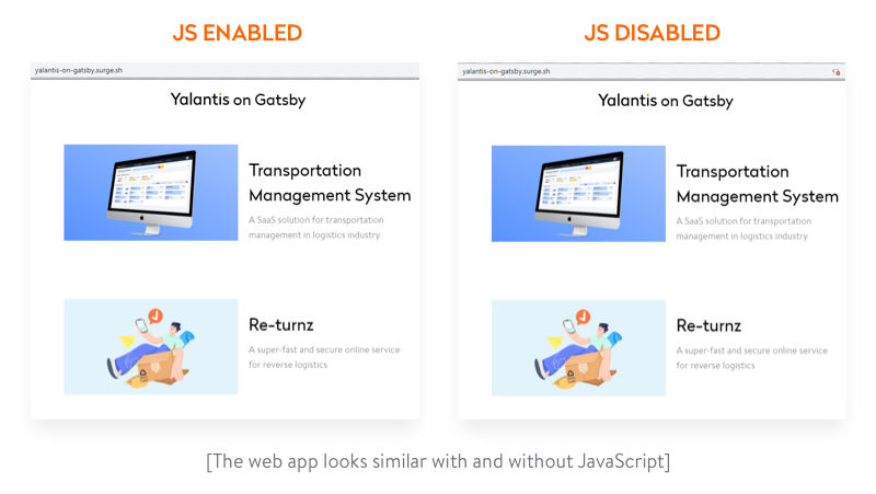 Our app with enabled and disabled JavaScript