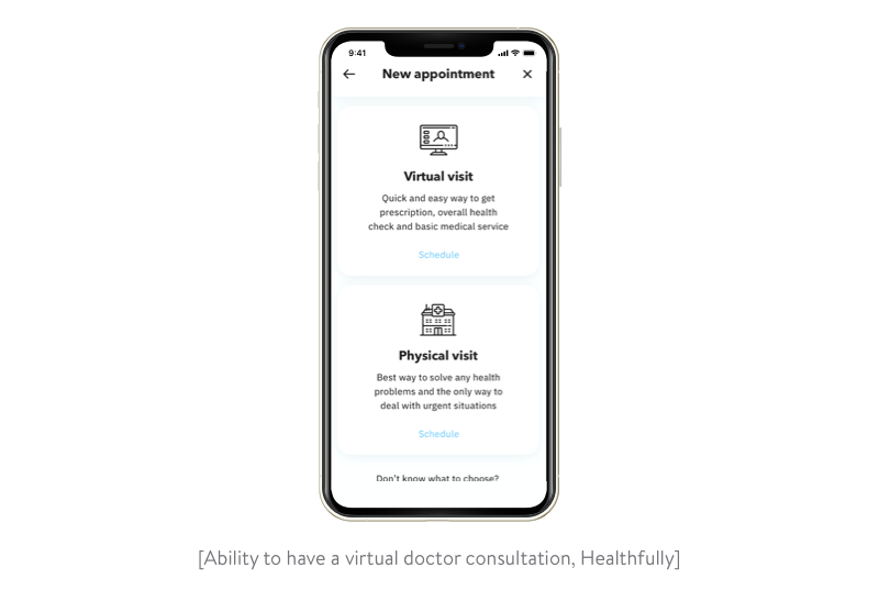 creating an appointment for a virtual doctor consultation in the healthfully app