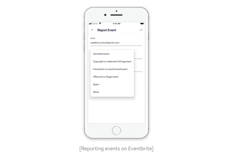 Reporting events on Eventbrite