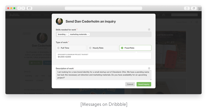 Dribbble messages